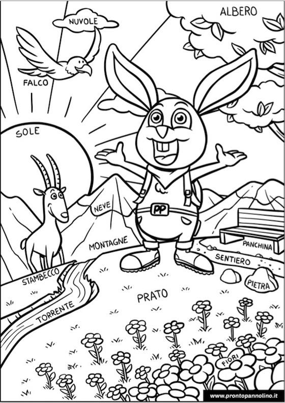 disegno gratis da colorare prontopannolino montagna