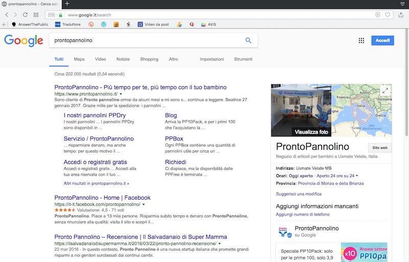 cerca su google prontopannolino